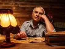 Senior man  in homely interior Royalty Free Stock Photos