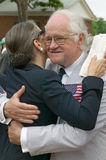 Senior man hugging female friend. On July 4, 2005 at Thomas Jefferson's home, Monticello Royalty Free Stock Photo