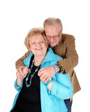 Senior man hugging his wife. Stock Image