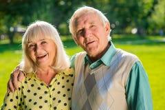 Senior man hugging woman. Royalty Free Stock Photo