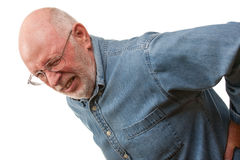 Senior Man with Hurting Back on White Stock Photo