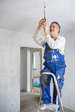 Senior man installing a bulb in a freshly renovated appartment i Stock Photo