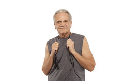 Senior man with jump rope Royalty Free Stock Photos