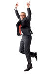 Senior man jumping on white background Royalty Free Stock Photos
