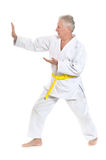 Senior man in karate Royalty Free Stock Photos