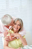 Senior man kissing his wife Royalty Free Stock Images