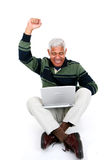 Senior Man On Laptop Stock Photos