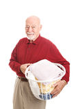Senior Man with Laundry Stock Photography
