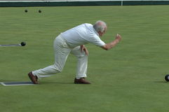 Senior man lawn Bowling  Stock Photography