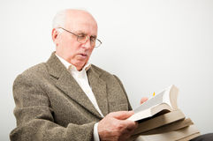 Senior old reading learning Royalty Free Stock Photo