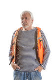 Senior man in life vest Stock Images