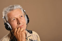 Senior man listen music Stock Photos