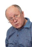 Senior man listening stock photo