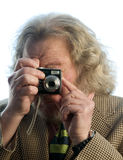 Senior man long hair point and shoot camera Stock Photo