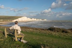 Seven Sisters chalk cliffs on stormy day royalty free stock photo