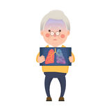 Senior Man with Lung Cancer Problem Royalty Free Stock Photo