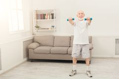 Senior man making exercise with dumbbells. Senior fitness man training with dumbbells at gym, doing strength exercise for biceps at home. Active lifestyle and Royalty Free Stock Photos