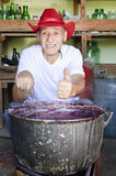 Senior man making jam thumb up Stock Photography