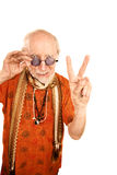 Senior man making peace sign Royalty Free Stock Photos