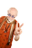 Senior Man Making Peace Sign Royalty Free Stock Image