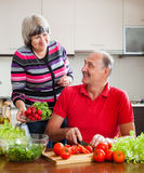 Senior man and mature woman  cooking vegetables Stock Images