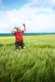 Senior man in a meadow royalty free stock images