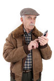 Senior man with mobile phone Royalty Free Stock Photo