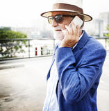 Senior Man Mobile Phone Communication Connection Technology Conc Stock Images