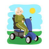 Senior Man on a Mobility Scooter. Elderly people moving on scooter. Elderly transport Royalty Free Stock Photography