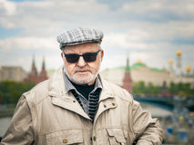 Senior man in Moscow Stock Photo