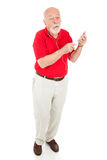Senior Man with MP3 Player - Full Body Royalty Free Stock Photography