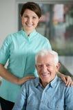 Senior man needing welfare service. Portrait of senior men needing welfare service stock image