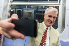 Senior Man in New York Subway Royalty Free Stock Photography