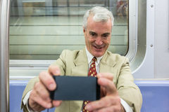 Senior Man in New York Subway Royalty Free Stock Image
