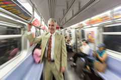 Senior Man in New York Subway Stock Photography