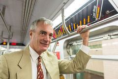 Senior Man in New York Subway Royalty Free Stock Photos