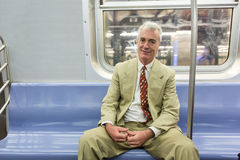 Senior Man in New York Subway Stock Image