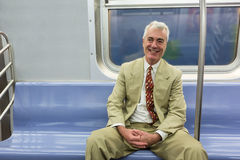 Senior Man in New York Subway Stock Photos