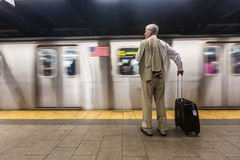 Senior Man in New York Subway Royalty Free Stock Photo