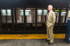 Senior Man in New York Subway Stock Photo