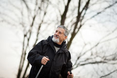 Senior man nordic walking, Stock Photography