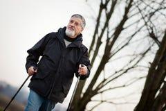 Senior man nordic walking, Royalty Free Stock Photography