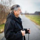 Senior man nordic walking Stock Photo