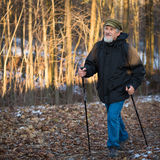 Senior man nordic walking Royalty Free Stock Photography