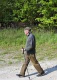 The senior man by nordic walking Stock Image