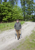 The senior man by nordic walking Royalty Free Stock Images