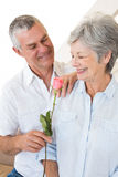 Senior man offering a rose to his partner Stock Image