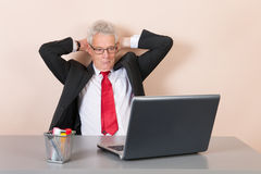 Senior man at the office Stock Images