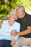 Senior man and old woman holding Stock Photo