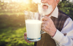 Senior man in orchard Stock Images